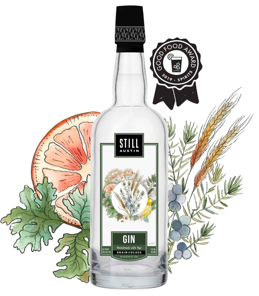 award winning still austin gin produced by still austin whiskey co in austin texas
