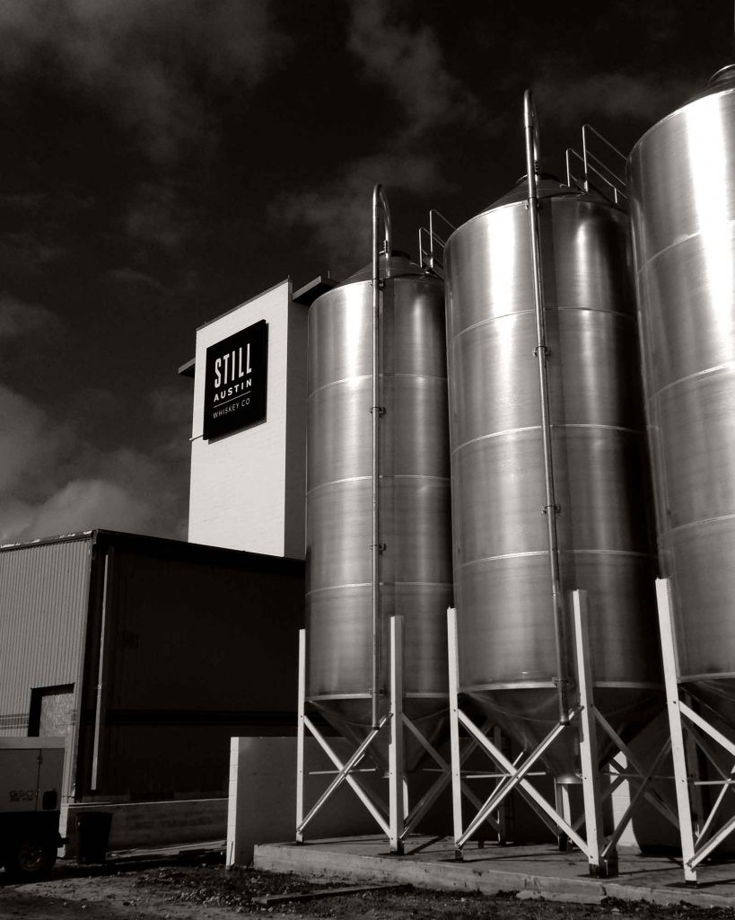 grain silos at the still austin whiskey co distillery in austin texas