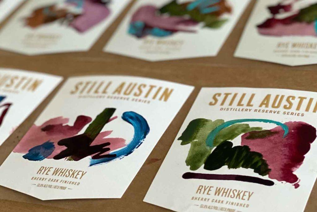 hand painted labels for still austin's sherry-cask finished rye
