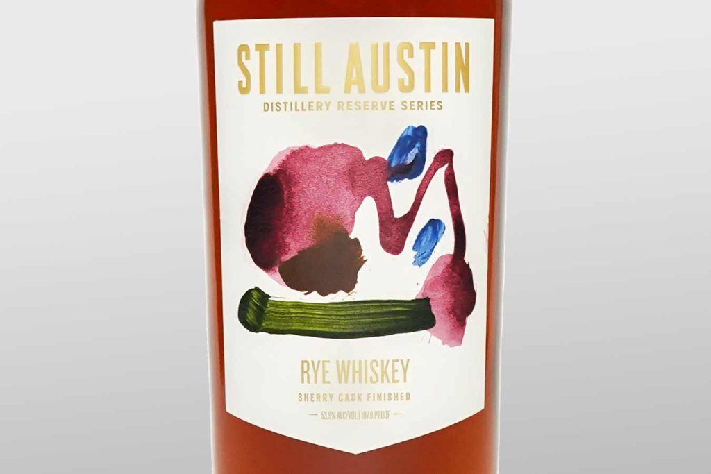 hand painted label by artist Rachel Dickson for still austin whiskey co distillers reserve series sherry cask finished rye