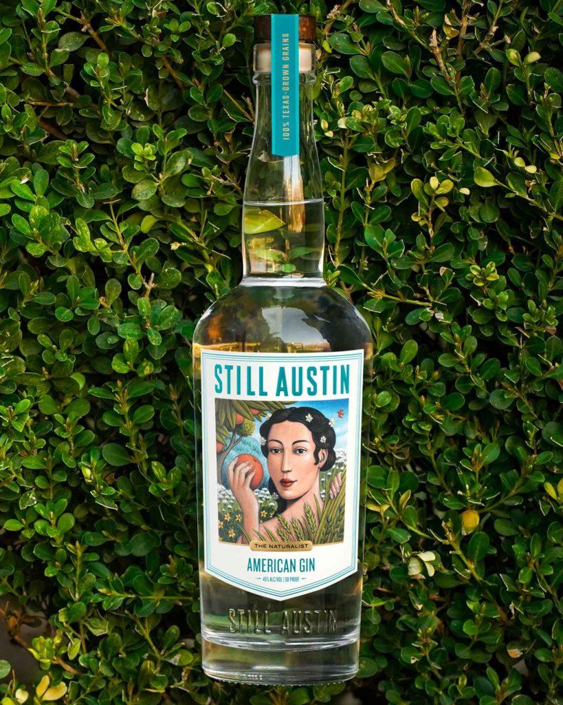still austin american gin bottle designed by artist marc burckhardt